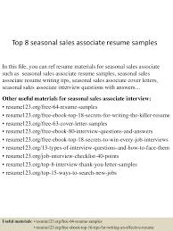 seasonal nurse sample resume effective resume cover letter thumbnail 4jpg cb 1431824752 top8seasonal sassociateresumesamples 150517010508 lva1 app6892 thumbnail 4 top 8 seasonal s associate resume samples