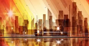 Gorgeous <b>urban silhouette</b> stereoscopic illustration <b>Architecture</b> ...