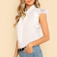 Women Summer Ruffles Sleeve Tie Lace <b>Thin Chiffon Blouse Top</b> ...