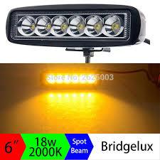 <b>2pcs</b> 12V <b>18W</b> 6inch Amber Led Light Bar <b>Yellow</b> Led Driving Work ...