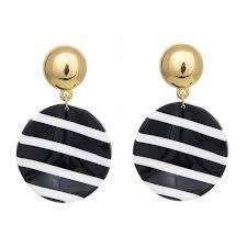 Круглые <b>полосатые чёрно</b>-<b>белые</b> серьги - купить за 3 200 руб. в ...