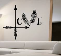 arrow feather love wall decal namaste vinyl sticker art decor bedroom design mural home decor room decor trendy modern bedroom sweat modern bed home office room