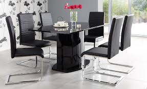 table for kitchen: gothic black kitchen chairs on white floor plus glass doors design
