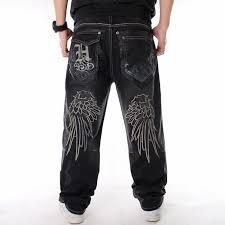 Men street dance <b>hiphop</b> Jeans <b>Fashion embroidery</b> Black Loose ...