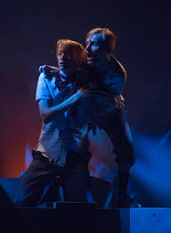 chicago theater review lord of the flies steppenwolf twins eric adam shalzi and sam ryan heindl are frightened when they