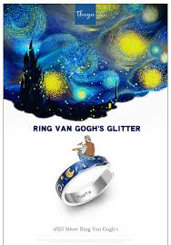 Thaya Genuine Van Gogh's <b>Enamel</b> Rings Jewelry 925 Silver Glitter ...