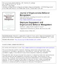 employee engagement and organizational behavior management pdf employee engagement and organizational behavior management pdf available