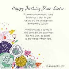 Free Birthday Cards For Sister - Happy Birthday Dear Sister via Relatably.com