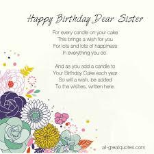Free Birthday Cards For Sister - Happy Birthday Dear Sister via Relatably.com