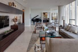 gold coast condo example of a trendy living room design in chicago with a music area bedroom large size living