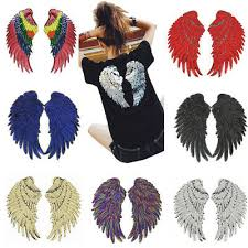1 Pairs <b>Sequin Angel Wings</b> Embroidered Applique Iron on Sew on ...