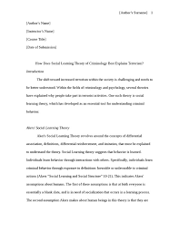how does social learning theory of criminologly best explains    how does social learning theory of criminologly best explains terrorism essay example
