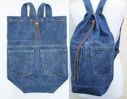 denim <b>backpack</b> upcycled blue jeans drawstring от ...