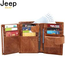 Jeep Brand <b>Genuine Cow Leather Men</b> Women Wallet Fashion Coin ...