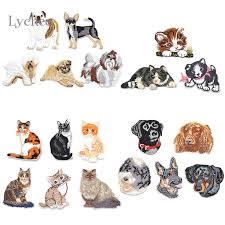 <b>1 Set Cute</b> Cat Dog French Bulldog Iron On Embroidered Patch Sew ...