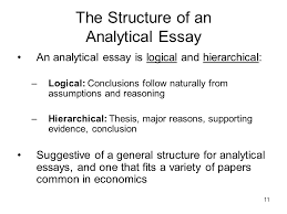 the analytical essay  todays agenda what is an analytical   the structure of an analytical essay an analytical essay is logical and hierarchical