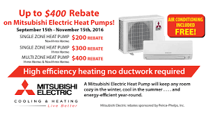 Mitsubishi Ductless Rebates On Mitsubishi Air Conditioning Ductless Duct Free Mini