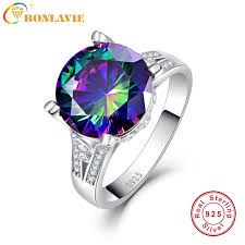 BONLAVIE 3ct Sparkling <b>Rainbow</b> Topaz Rings <b>Genuine</b> 925 ...