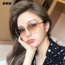 Buy HBK Oversized Rimless Sunglasses Women ... - Aliexpress.com