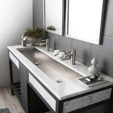 55 inch double sink bathroom vanity:  inch bathroom vanity double sink   trough sink bathroom