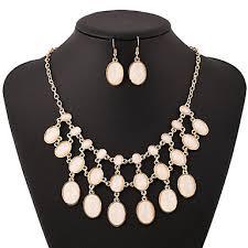 Women's White <b>Cubic Zirconia</b> Bridal Jewelry Sets Layered Ladies ...