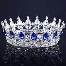 <b>Himstory handmade european royal</b> hair crown blue rhinestone