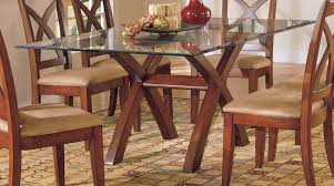 top dining table designs image tops dark  rectangle glass top table with double crossed wooden legs combin