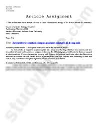 bio notes article assignment doc biology cayle assignment this article must be on a topic covered in class please attach a copy of the article behind the summary source of article biology news
