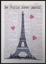 Vintage Eiffel <b>Tower Paris French</b> Dictionary Print Picture Wall Art ...