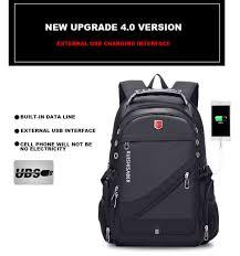 Oxford Swiss <b>17 Inch</b> Laptop Backpack <b>Men</b> USB Charging ...
