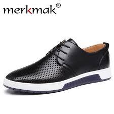 Merkmak New 2019 <b>Men Casual Shoes Leather</b> Summer ...