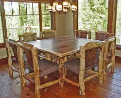 Square Kitchen Table With Bench Attractive Handmade Rustic Square Dining Table On Dark Floors As