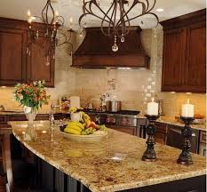 kitchen cabinets with granite countertops: interior kitchen decoration using white granite countertop along with steel stand gas stove and white tile kitchen backsplash also upper wooden cabinet dark