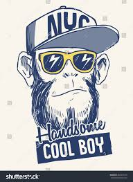 Cool Monkey illustration with cool slogan for t-shirt and other uses ...