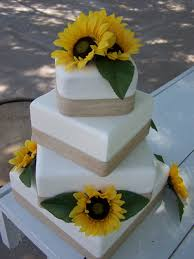 Sunflower & Burlap Wedding Cake