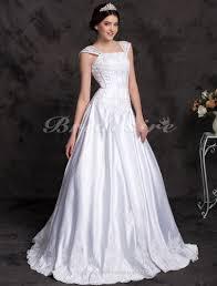 A-line Princess <b>Satin</b> Floor-length Wedding Dress With <b>Beaded</b>
