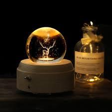 3D Elk <b>Moon Crystal Ball</b> Luminous Rotary Music Box Christmas ...