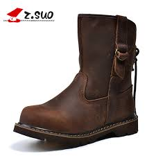 Z.SUO <b>Genuine Leather Women Boots</b> Leisure Mid calf Western ...