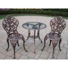 rose 3 piece bistro patio set vineyard glass top  piece patio bistro set