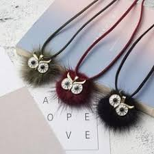 Long Leather Rope Chain Fur Pompom Owl Pendant Necklace for ...