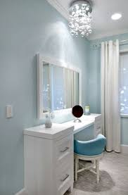 ideas light blue bedrooms pinterest: teen girls dressing table in blue room