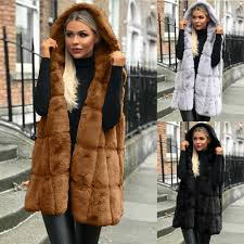 <b>Women</b> Sleeveless <b>Vest</b> Hooded Coat <b>Autumn Winter</b> Solid Warm ...