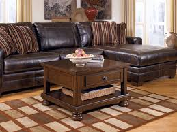 chic rustic living room breathtaking breathtaking brown wooden square table storage with sectional brown le