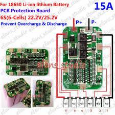 6S 15A <b>22.2V</b> 25.2V Li-ion Lithium 18650 Battery Charger BMS ...