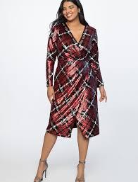 <b>Plaid Sequin</b> Wrap <b>Dress</b> | Women's Plus Size <b>Dresses</b> | ELOQUII
