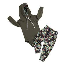 Newborn Baby Girl Outfits Army Green Hoodie ... - Amazon.com