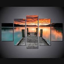 <b>5 Pieces</b> Multi Panel Modern Home Decor Framed Lake <b>Sunset</b> ...