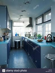 Rubber Kitchen Floors Rubber Flooring In Modern Galley Kitchen With Pale Blue Worktops