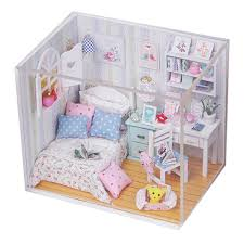 kits diy wood handmade dollhouse bed miniature with ledfurniturecover magicchina aliexpresscom buy 112 diy miniature doll house