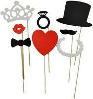<b>Universal 8Pcs</b> DIY Photo Booth Props Mustache Lip <b>Ring Heart</b> ...